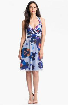 Prints are IN, and we love this bright watercolor look! Donna Morgan Chiffon Halter Dress | Nordstrom