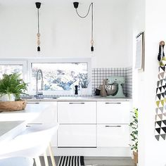 Drawers make space! #smallspace #kitchen #white #Scandi #modern #home #decor #cabinets #lighting