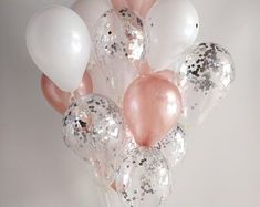 Rose Gold Weiß Silber Konfetti Rose Gold Luftballons / Konfetti Luftballons / H… Rose Gold White Silver Confetti Rose Gold Balloons / Confetti Balloons / Hen doBalloon Bouquet Set Balloon Garland Birthday Rose Gold Balloons, Confetti Balloons, Glitter Balloons, White Balloons, Clear Balloons, Large Balloons, Balloon Bouquet, Balloon Garland, Balloon Arch