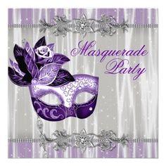 Silver and Purple Sparkles Purple Masquerade Party Invitations