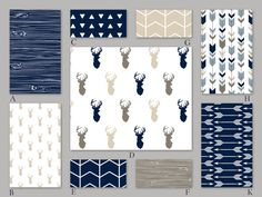 Navy, Beige, Tan and Blue Woodland Crib Baby Bedding Set - The Rustic Woods Collection by RockyTopDesign on Etsy https://www.etsy.com/listing/264399475/navy-beige-tan-and-blue-woodland-crib
