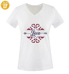 Comedy Shirts - Love Ornament - Damen V-Neck T-Shirt - Weiss / Lila-Fuchsia Gr. XXL - Shirts mit spruch (*Partner-Link)