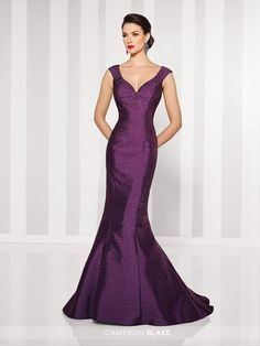Cameron Blake - Hand-beaded Mikado mermaid gown with slight cap sleeves, curved V-neckline, dropped waistline, V-back, sweep train. Matching shawl included.
