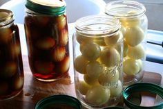 'Pickled Onions' are as much a part of English culture as the Sunday roast or the Christmas pudding.Favored way to eat them is in a ploughman's lunch.A tradition best enjoyed in a sunny pub garden with a nice pint,the ploughman's consists of a hunk of good bread,chunk or two of nice  sharp cheese,possibly a bit of cold meat,a bit of salad,spoonful of pickle such as Piccalilli or Branston & a big fat pickled onion. 1 inch white onions, sugar,salt,malt vinegar,cloves, peppercorns & pickling…