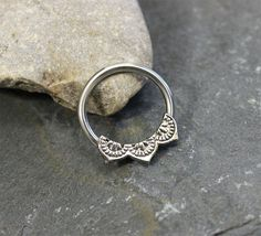 Flower petal Ring Hoop Nipple Ring Conch Earring by Purityjewel