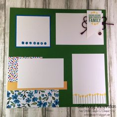 handmade scrapbook page, memory keeping, flowers, green & blue, DIY, demonstrator, paper crafting, easy, stamping, craft, paper, *Stampin' Up, by Amy Frillici, Gathering Inkspiration Stamp Studio, order products online at amysuzanne.stampinup.net