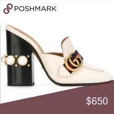 Head over Heels - Gucci gold buckle mules ARS) High Heel Mule Shoes, Chunky Heel Shoes, Shoes Heels Pumps, Mules Shoes, Heeled Mules, High Heels, Embellished Shoes, Decorated Shoes, Gucci Shoes