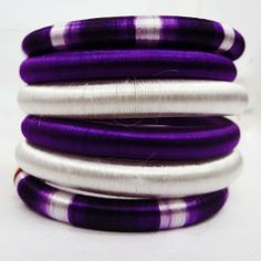 Purple & White Silk Thread Handmade Bangles Set Of 6 Fashion Women India…