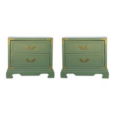Image of Chinoiserie Campaign Green Nightstands - Pair