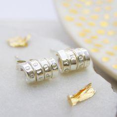 Personalised Silver Earrings | Silver Scroll Stud Earrings | Unique Earrings…