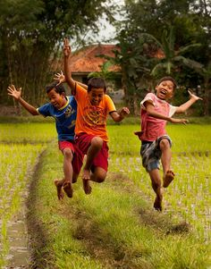 Jumping happiness  for joy in the rice fields of Indonesia.