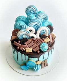 Save by Hermie Big Cakes, Fancy Cakes, Pretty Cakes, Cute Cakes, Cake Cookies, Cupcake Cakes, 21st Cake, Bolo Cake, Drizzle Cake