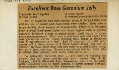 Excellent Rose Geranium Jelly | Edith Adams - I love the scent of rose geranium so I can imagine this is fabulous