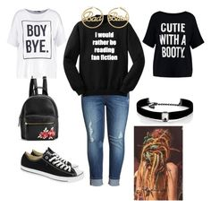"""""""Nambi Swag"""" by jody-glasgow on Polyvore featuring Melissa McCarthy Seven7, Boohoo, Converse, Kenneth Jay Lane and me you"""