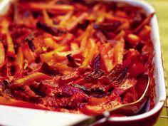 Mehukas juureskiusaus Ratatouille, Side Dishes, Cabbage, Bacon, Food And Drink, Soup, Vegetarian, Beef, Vegetables