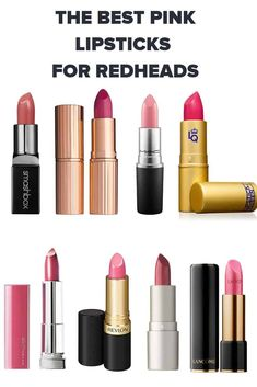 The Top Pink Lipsticks for Redheads - Makeup Looks Orange Best Pink Lipstick, Hot Pink Lipsticks, Lipstick For Fair Skin, Lipstick Dupes, Natural Lipstick, Dark Lipstick, Best Lipsticks, Lipstick Swatches, Lipstick Colors