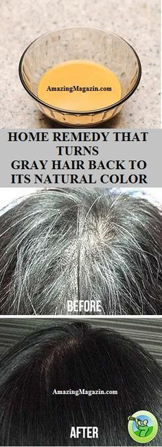 HOME REMEDY THAT TURNS GRAY HAIR BACK TO ITS NATURAL COLOR....ADD A LITTLE LEMON JUICE AS WELL, AND COCONUT OIL.
