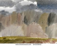 Abstract forest gloomy landscape watercolor painting background