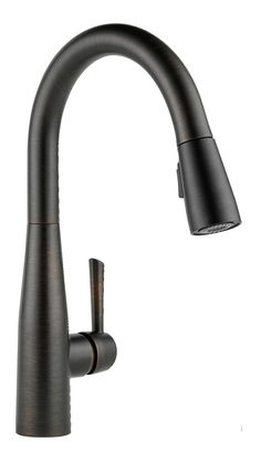 Kitchen Faucet With Sprayer, Kitchen Faucets Pull Down, Black Kitchen Faucets, Farmhouse Sink Kitchen, Faucets For Farmhouse Sinks, Bathroom Faucets, Delta Faucets, Bathroom Interior Design, Taps