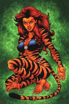 Tigress  First introduced to the comic-book world in the early '70s as The Cat, before re-emerging as superpowered woman/cat hybrid Tigra, our feline heroine has super strength, stamina, agility… and a tail.     Her human (and tail-less) alter-ego Greer Grant tends to wear a few more clothes, including a police uniform during a stint with the NYPD.