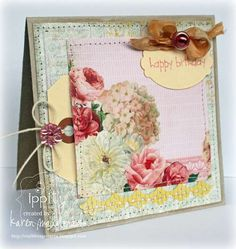 feminine, floral paper, tag, punched border