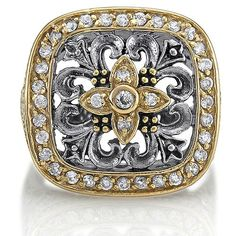 Sterling Silver 925 Cubic Zirconia CZ Filigree Square Fashion Ring from Berricle - Price: $53.99
