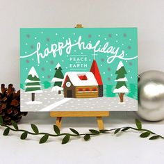 Peaceful Village Holiday Cards by Oubly.com