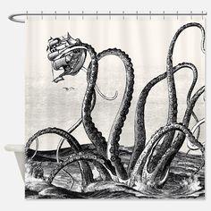Kraken Attack Shower Curtain For Octopus Curtains Sets
