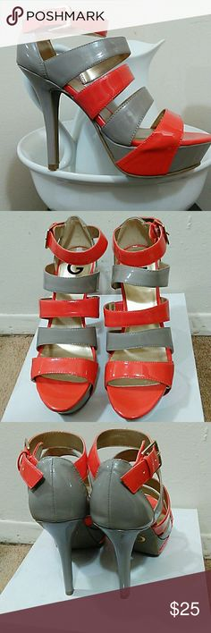 "Womens heels Worn once Guess 4.5"" Coral and Beige peep toe strap pumps. Patent leather. Guess Shoes Heels"