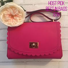 "20% off Sale {Kate Spade } Pink Scalloped Handbag ✨Kate Spade Pink Scalloped Shoulder Bag✨ Measurements: W 11 1/2 x H 8"" Drop can be adjusted from 12-14 ✨Please note wallet is just to show matching set 😊 But can Absolutely be Bundled ✨ kate spade Bags Shoulder Bags"