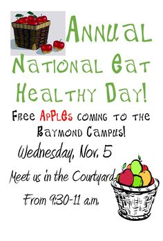 Like free apples? Join Student Recreation for National Eat Healthy Day on Wednesday, November 5.   #hindsrec #eathealthyday