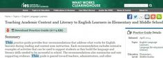 The What Works Clearinghouse at the U. Department of Education has just released an updated Guide for Teaching Academic Content and Literacy to English Learners in Elementary and Middle School. English Language Learners, Ell, Middle School, Classroom Ideas, Literacy, Articles, Posts, Teaching, Education