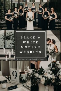 Inspiration For A Sophisticated Modern Wedding Day Black and White Modern Wedding with Candles and Greenery. White Tux, Black Bridesmaid Dresses, Open Back Dress. Elegant and Sophisticated Black Tie Affair. South Congress Hotel in Austin, Texas. Black Bridesmaids, Black Bridesmaid Dresses, Black Wedding Dresses, Black And White Wedding Theme, Black Tie Wedding, Black Wedding Decor, Modern Wedding Decorations, Wedding Themes, White Tuxedo Wedding