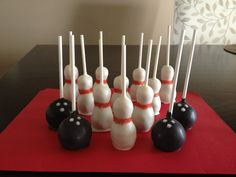 Bowling Pins and Bowling Ball Cake Pops