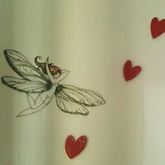Red ceramic hearts & Dragonfly copper