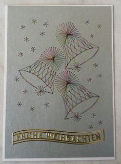 Ideas sewing christmas cards paper embroidery for 2019 Embroidery Cards, Embroidery Patterns, Hand Embroidery, Sewing Machine Projects, Quilled Paper Art, Sewing Cards, String Art Patterns, Quilling Cards, Diy Christmas Cards