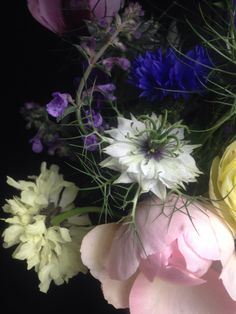 Detail of garden posy with Rosa Gentle Hermione