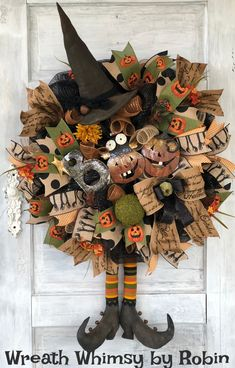 Unique, Custom Made Wreaths for any Occasion! by WreathWhimsybyRobin Halloween Witch Wreath, Rustic Halloween, Halloween Porch, Diy Halloween Decorations, Fall Halloween, Halloween Crafts, Halloween Halloween, Vintage Halloween, Halloween Makeup