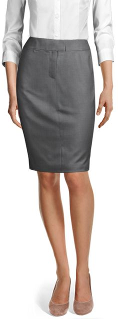 Discover made-to-measure fashion for women. Personalise your female suits, shirts, jackets and skirts at the best price. Business Skirts, Wool Skirts, Design Your Own, Suits For Women, Perfect Fit, Classy, Shirt Dress, Female, Grey