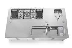 Alpes Inox - LARGE ISLAND UNIT 150X280 - Large island unit made of stainless steel, 150 cm deep and 280 cm wide