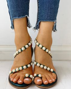 EH-LIFE Women Flat Sandals Shoes Bohemia Flower Crystal Casual Shoes Plus Size EU 35