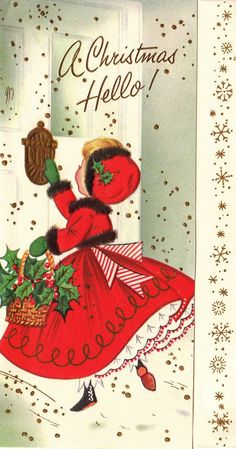 Vintage 1960s A Christmas Hello Greetings Card