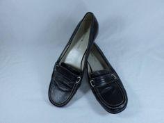 Womens BANDOLINO Whimsy Walking Shoes LEATHER Black flat loafer sz 8 M Moccasins