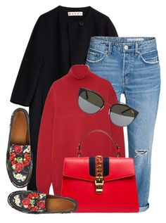 """Red Love"" by monmondefou ❤ liked on Polyvore featuring Marni, Gucci, Dolce&Gabbana, Quay and red"