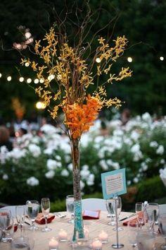 Burnt Orange Mason Jars | Wedding center piece. Tall, burnt orange and teal, orchids, Bible ...