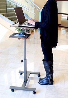 Portable Computer Adjustable Rolling Cart Stand Table Mobile Laptop Desk New #ComputerCart