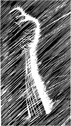 Frame of Marv in the rain by Frank Miller. Of course if you are going to talk about ink work in a cartooning course you cannot forget about Frank Miller. His frames like this in Sin City are so well done, they show so much attitude, life and movement while being so ultra simplistic due to the high contrast b/w style of the comic.