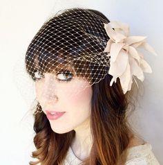Flower hair fascinator with birdcage veil par sunshineandcarousels, $34.00
