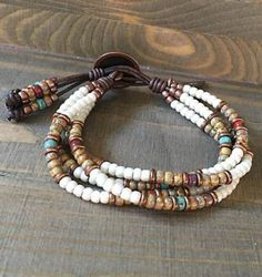 Seed Bead Leather Bracelet Native American Style / Buffalo Wrap Bracelet for Women . Seed Bead Leather Bracelet Native American Style / Buffalo Wrap Bracelet for Women … – Seed Bea Leather Jewelry, Boho Jewelry, Jewelry Crafts, Beaded Jewelry, Handmade Jewelry, Jewelry Design, Jewelry Ideas, Jewellery Box, Leather Necklace