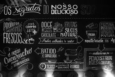 Infographic created and executed with posca to illustrate a wall inside Freddo& ice cream store located in Curitiba, Brasil. Small Store Design, Typography Letters, Lettering, Chalk Wall, Chalk Board, Chalkboard Art, Window Stickers, Restaurant Design, Cool Words